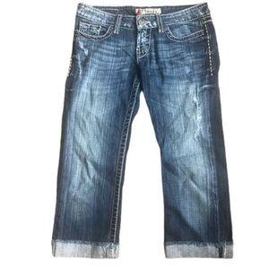 BKE Jeans Capri Sabrina Stretch Distressed
